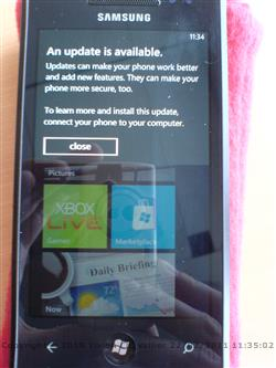 Windows Phone 7 update main screen
